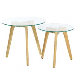 Tables basses gigognes chêne et verre KosyForm