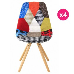 Set of 4 Lounge chairs multicolor Patchwork KosyForm