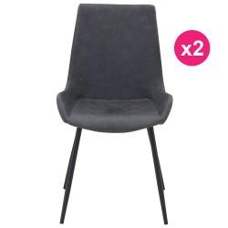 Lot de 2 Chaises Noir Vieilli KosyForm