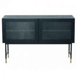低贴面橡木黑色玻璃门和脚黑色托齐尼 KosyForm 金属家具