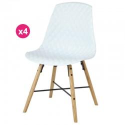 Set of 4 chairs Polypropylene white oak Vigi KosyForm base