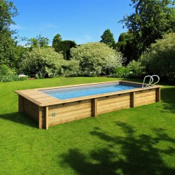 Urban pool Procopi wood 600 x 250 x H 133 automatic cover with safe and filtration