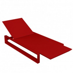 Deckchair long frame Vondom red mat