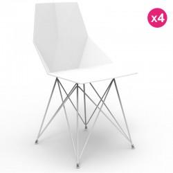 アームレストなしの4つの椅子ファス Vondom のフィートのステンレス鋼の白のセット