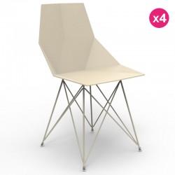 アームレストなしの4つの椅子ファス Vondom ステンレス鋼の足エクリュのセット