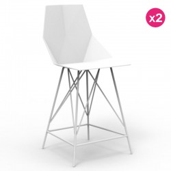 Set of 2 high stools FAZ Vondom white and metal with armrests