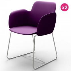 2椅子のセット Vondom Pezzettina バイオレットマットとメタル