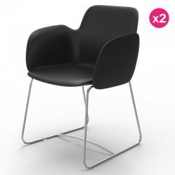 Pack de 2 cadeiras Vondom Pezzettina preto Matt e metal
