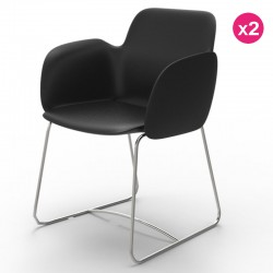 Pack of 2 chairs Vondom Pezzettina black Matt and metal