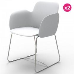 2つの椅子のセット Vondom Pezzettina ホワイトマットとメタル