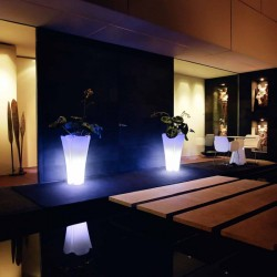Pot Jardinière Design Pezzettina Vondom Lumineux Led Blanc 50x50xH85