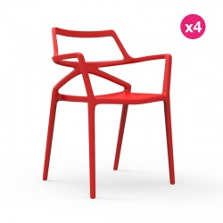 Lot de 4 Chaises Delta Vondom Rouge