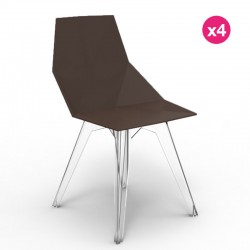 Lot de 4 chaises FAZ Vondom Bronze