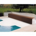 Thermodeck 8x4 automatic pool cover with aluminum and wood coer