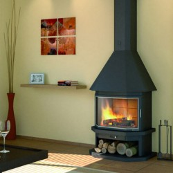 18kW Steel Face FocGrup chimney with Glass Inox Frame 50