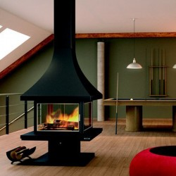 FocGrup 16 kW Black Glass Steel and Stainless 55 Frame Chimney