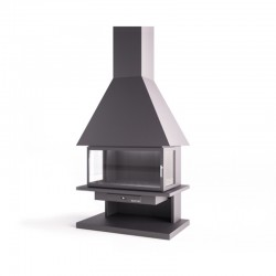 Face FocGrup Steel Chimney with Glass Door and Refractory Brick