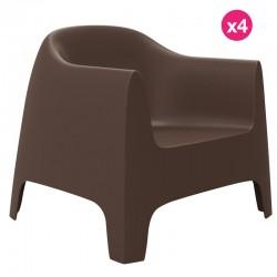 Lot de 4 Fauteuils Lounge Solid Vondom bronze