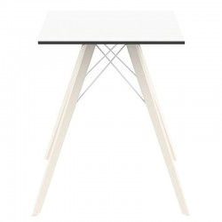 Table à manger Vondom Faz Wood plateau carré blanc et pieds chêne blanchis