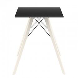 Table à manger Vondom Faz Wood plateau carré noir et pieds chêne naturel
