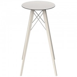 Table Haute Vondom Faz Wood Plateau Rond Hpl Blanc et Bord Noir avec Pieds Chene Blanchi Diamètre 50 x H105cm