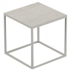 Table basse carrée Pixel Vondom Dekton Danae écru et pieds écru 40x40xH25